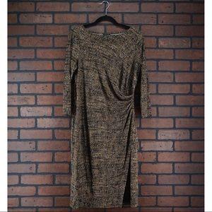 TALBOTS Brown Printed Ruched Waist Dress Size M